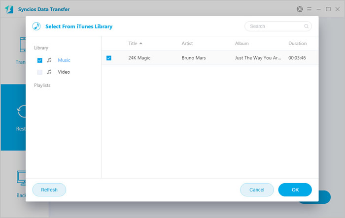 restore itunes playlist to ios