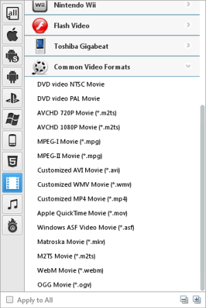 Android Video Converter output format