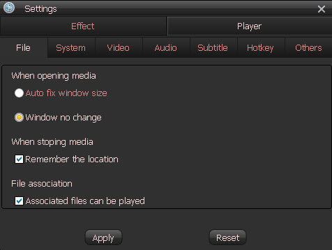Settings for Free MKV Player