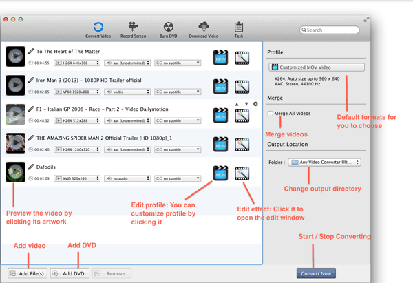 Interface do Any Video Converter Ultimate para Mac