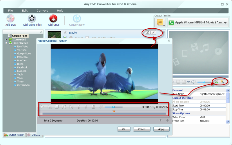Free Video Editor, DVD to iPod editor