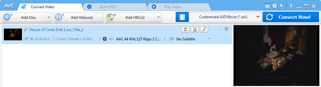 Add ISO image to Any Video Converter