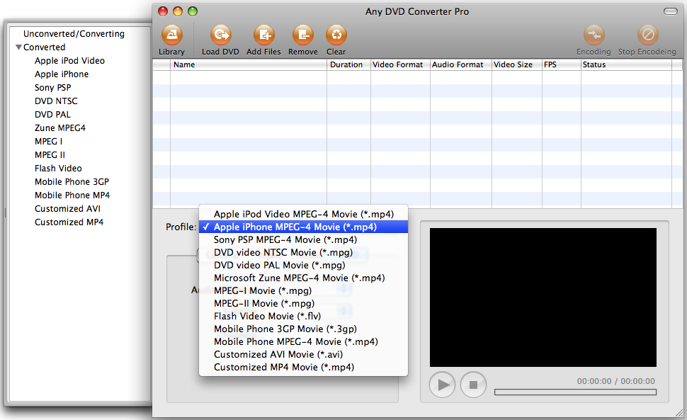 main windows of Any DVD Converter: Mac video converter, Mac AVI Converter on Mac OSX