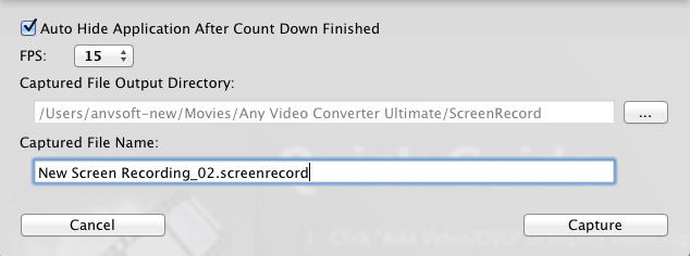Setting Window of Video Recorder on Mac