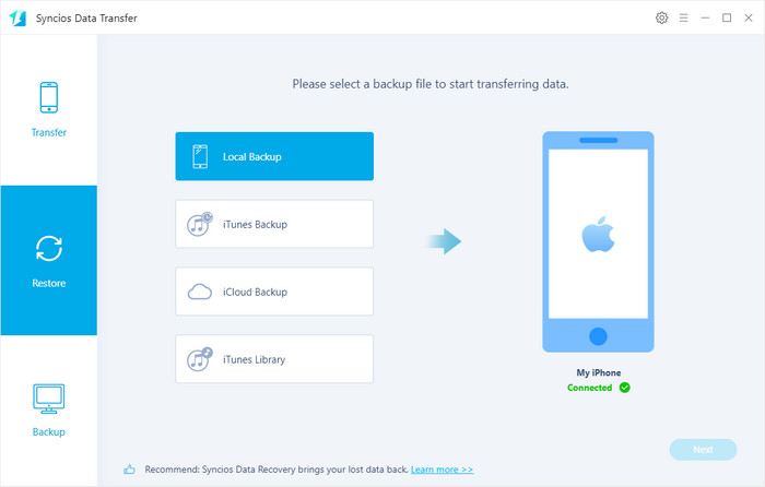 restore backup to iphone