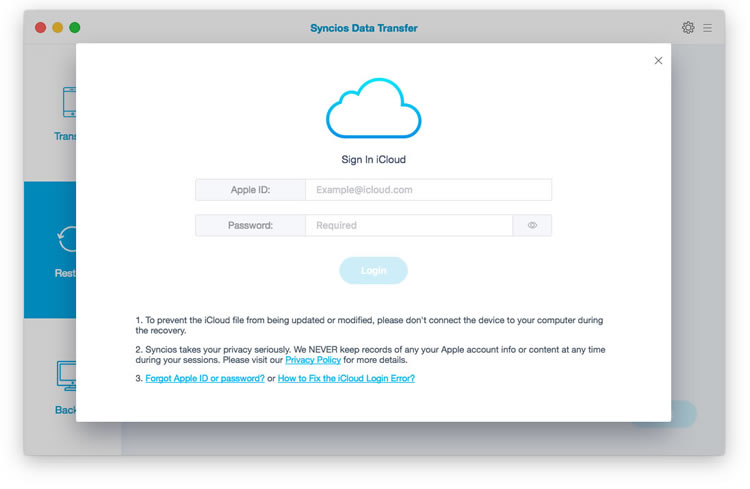 Restore from iCloud Backup Files